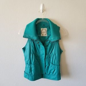 Bright Teal Vest with Chic Over-sized Collar M